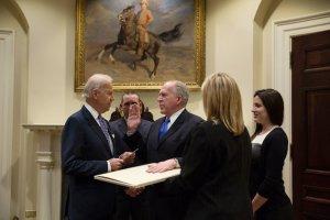 Vice President Joe Biden swears in CIA Director John Brennan at the White House, March 8, 2013. (David Lienemann/Official …