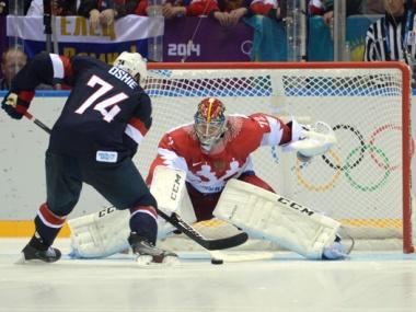 Olympics: Ice Hockey-Men's Prelim Round-USA vs RUS